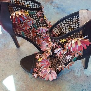 Bestsy Johnson floral petal embellished shoes